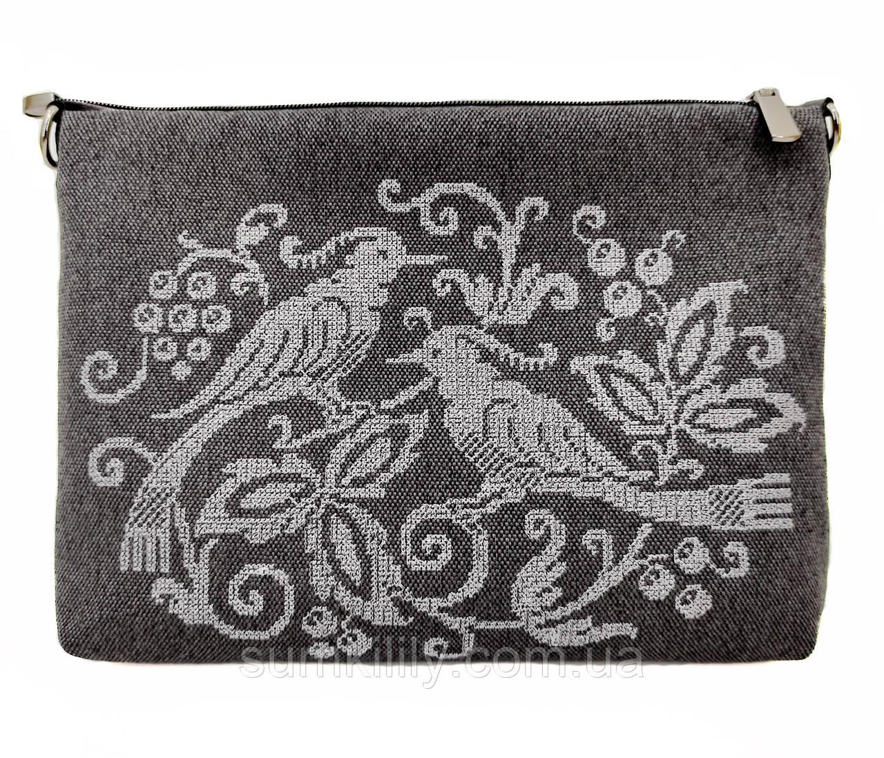 Текстильная сумка с вышивкой Птицы