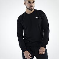 Свитшот мужской черный Puma / толстовка спортивная черная Пума