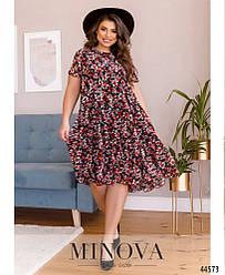Элегантное платье батал с цветочным принтом большого размера 50, 52, 54, 56, 58, 60,  62, 64