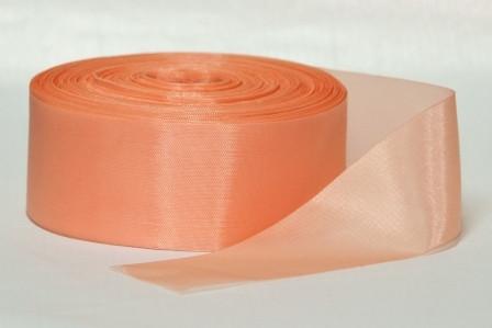 Лента атлас 5 см/1 м персиковая