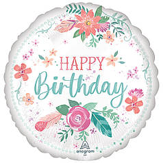 "Круг 18"" ANAGRAM-АН Happy Birthday - нежные цветы на белом (УП)"