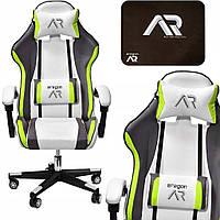 Комп'ютерне крісло для геймера JUMI ARAGON TRICOLOR LIME-WHITE