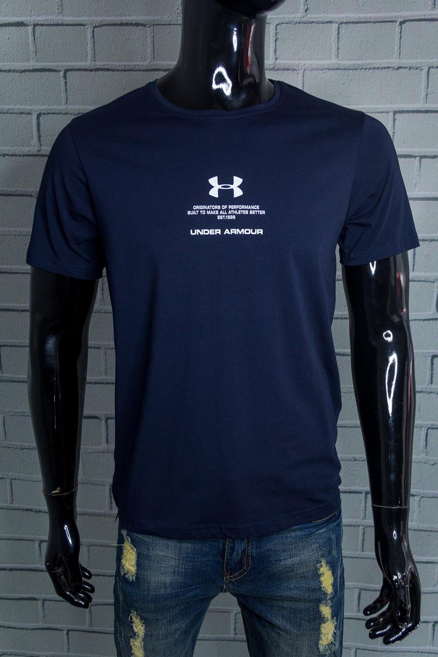Футболка чоловіча Under Armour Темно-синя Бавовняна з написом Для спорту і на кожен день Відмінна посадка