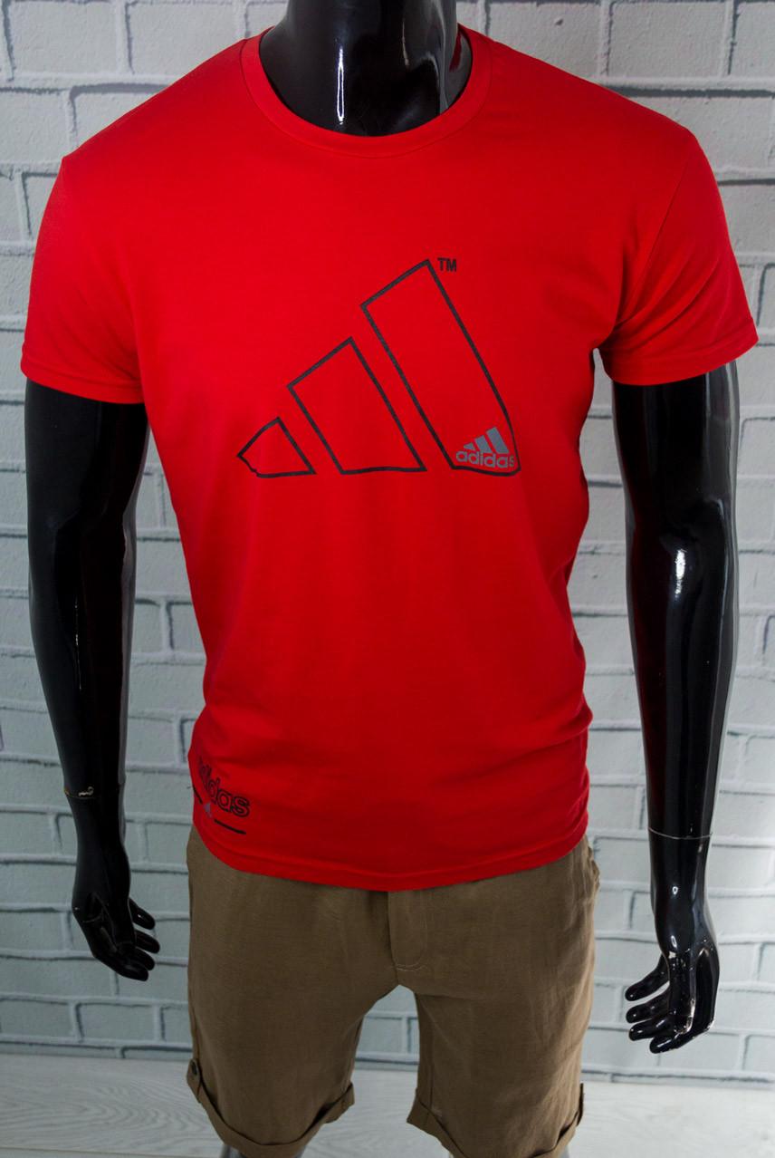 Футболка чоловіча Adidas Червона Бавовняна Приталені з логотипом Для спорту і на кожен день Адідас L