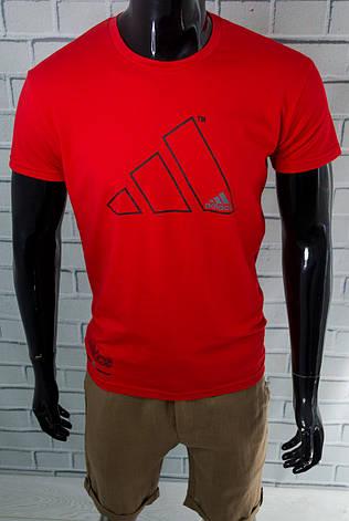 Футболка чоловіча Adidas Червона Бавовняна Приталені з логотипом Для спорту і на кожен день Адідас L, фото 2