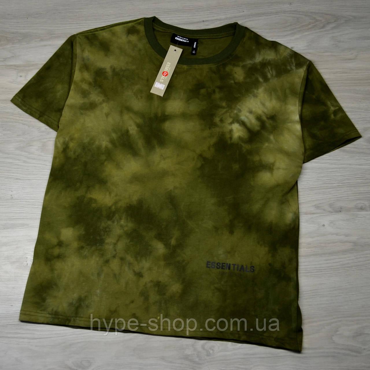 Чоловіча футболка ESSENTIALS Tie Dye dark haki з якісним принтом