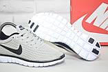 Сірі легкі кросівки в стилі Nike Free Run 3.0 унісекс, фото 3