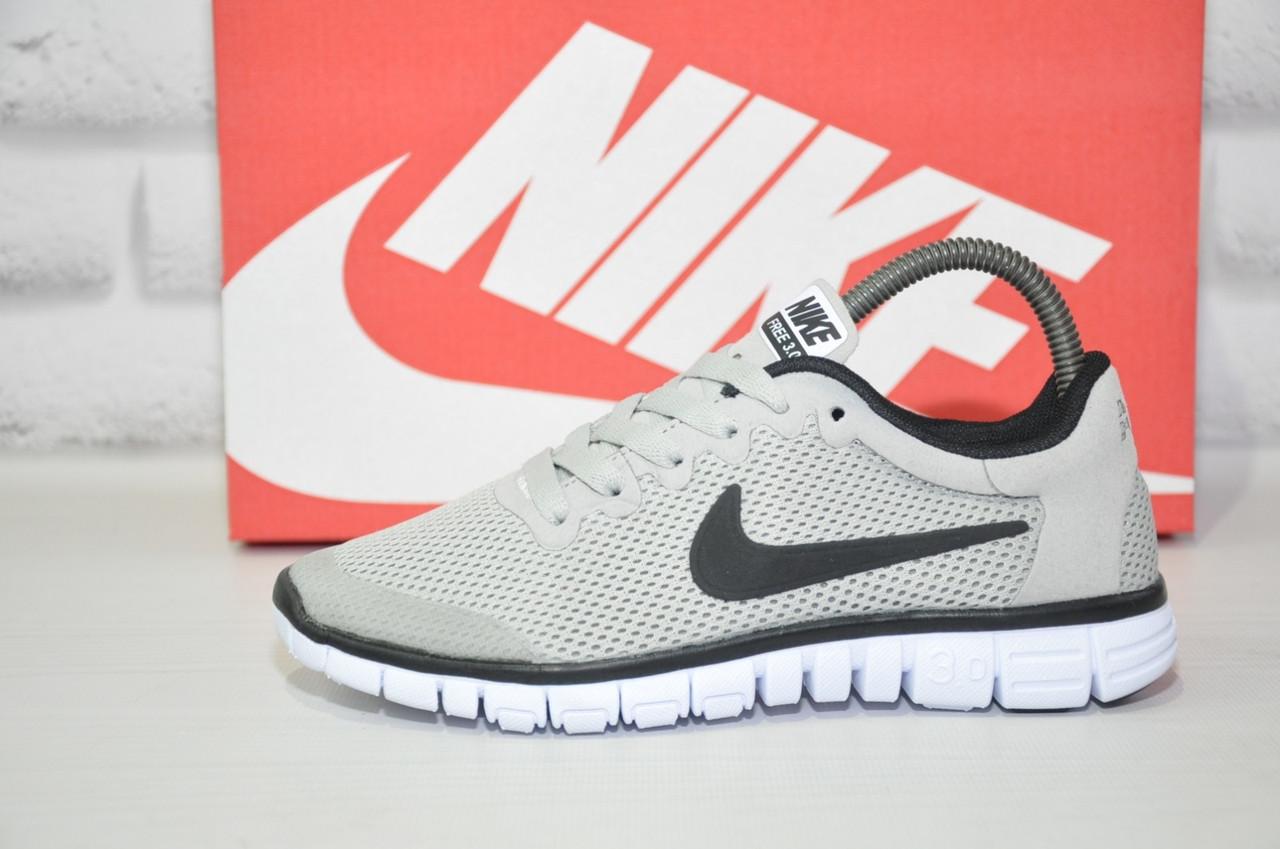 Серые лёгкие кроссовки в стиле Nike Free Run 3.0 унисекс