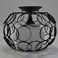 Люстра металлическая сетка белый матовый плафон 1 лампа черная