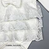 Боді сукня+пов'язка дів. Молочний Інтерлок 0314 Miniborn Туреччина 56-62(р), фото 5