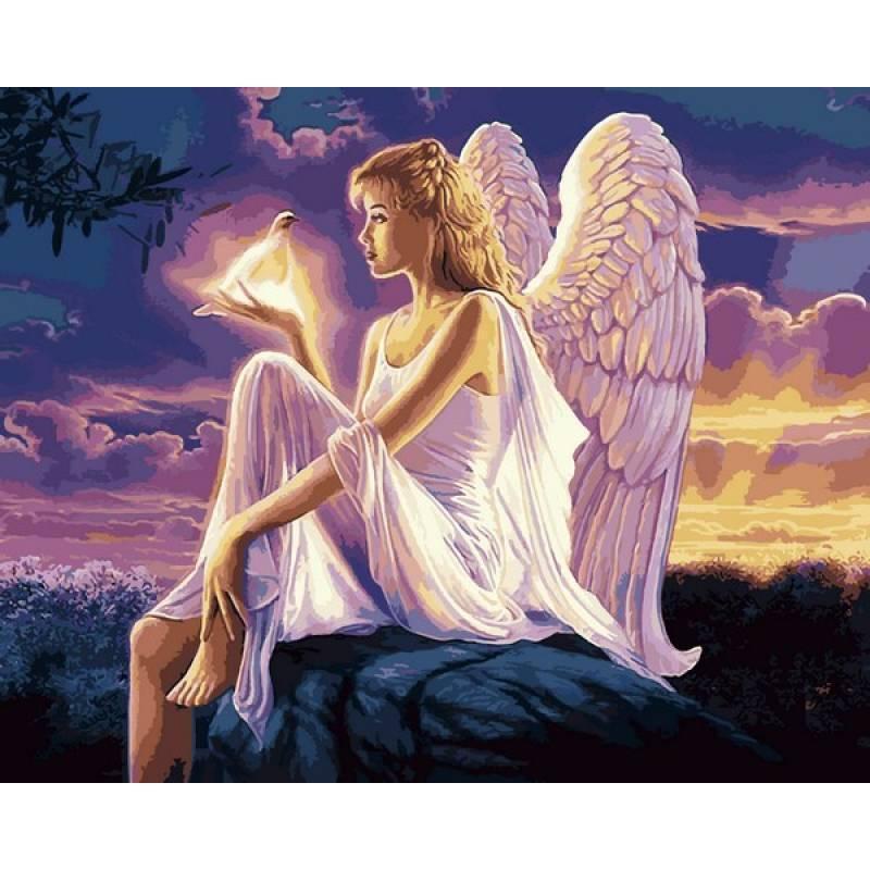 Картина по номерам рисование Babylon Ангел и голубь 40х50см набор для росписи по цифрам в коробке