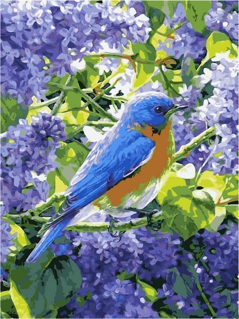 Картина малювання за номерами Babylon Птичка на сирени 30х40см VK220 набір для розпису, фарби, пензлі, полотно