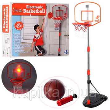 Баскетбольное кольцо на стойке для мальчика M 3548 (97-170 см) со светом и звуком