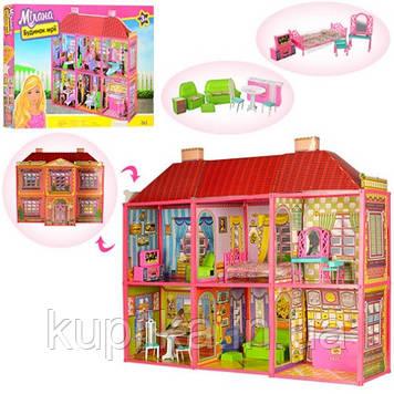 Кукольный двухэтажный домик 6983 с мебелью, 6 комнат