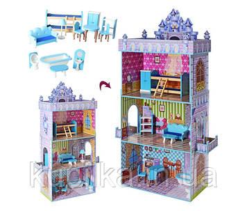 Деревянный домик для кукол Barbie MD 2410, 3 этажа, мебель