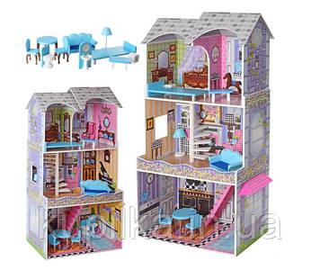 Игровой домик для кукол Барби с мебелью MD 2412, 3 этажа, дерево