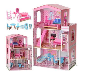 Деревянный домик для кукол с мебелью MD 2413, 3 этажа