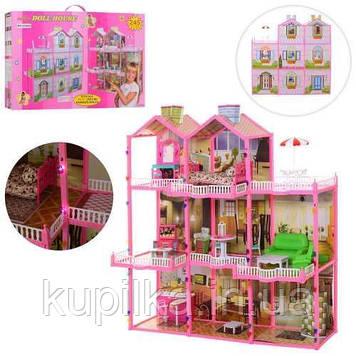 Игрушечный домик 6992 для куклы, 3 этажа, свет, мебель (высота 109 см)