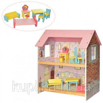 Детский, игровой, двухэтажный, деревянный домик для куклы с мебелью MD 2048