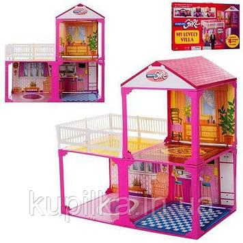 Игровой набор для девочек, большой двухэтажный домик для кукол типа Барби 6982 А