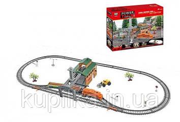Железная дорога со звуковыми эффектами, поездом и погрузочной станцией, работает от батареек, 20821