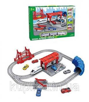 Набор игровой детская железная дорога со звуком и светом 888-6 шесть машинок в комплекте