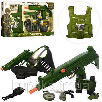 Игровой набор военных аксессуаров для мальчика M013A, с пистолетом, автоматом, жилетом и маской