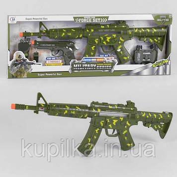 Игровой военный набор для мальчика СН 920 A-6 с автоматом со звуковыми эффектами, пистолетом, рацией, биноклем