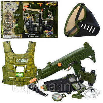 Детский комплект военных аксессуаров для мальчика 33480, пистолет со звуковыми эффектами (10 предметов)