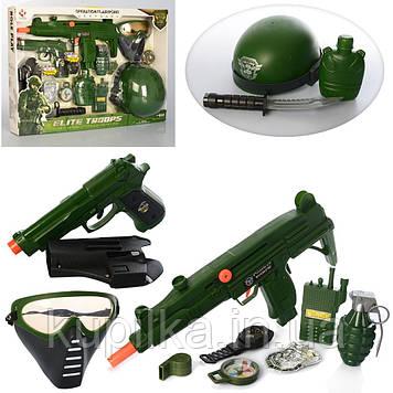 Игрушечный военный набор M015A автомат-трещотка, пистолет, каска, маска