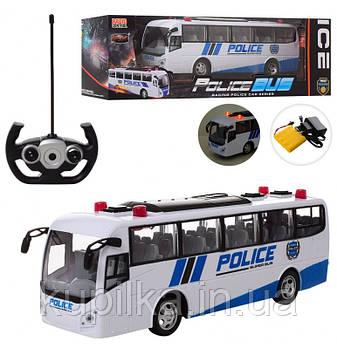Игрушечный полицейский автобус 666-69 на радиоуправлении со световыми эффектами, работает от аккумулятора
