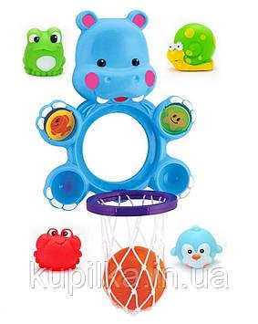 "Игрушка для купания 9912 баскетбол ""Бегемот"" сетка, мячик, 4 брызгалки"