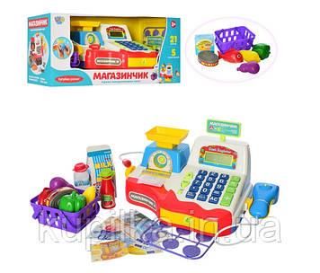 Детский игровой музыкальный Магазин кассовый аппарат с микрофоном, калькулятором и сканером Limo Toy 7162 RU