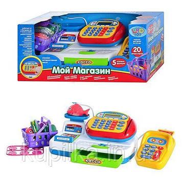 Детский игровой музыкальный Магазин кассовый аппарат с микрофоном и калькулятором Joy Toy 7019