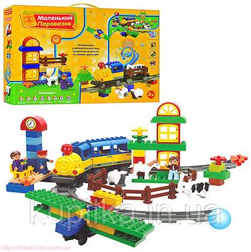 Детский конструктор железная дорога JIXIN M 0439 U/R (6188С)Маленький паровозик 60 деталей