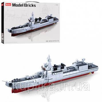 Конструктор детский SLUBAN M38-B0700 Корабль крейсер модель в соотношении 1:450 (618 элементов) (длина 42 см)