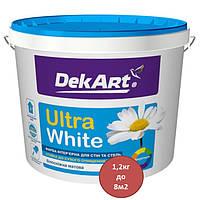 Краска интерьерная для стен и потолков матовая Ultra White Декарт 1,2 кг