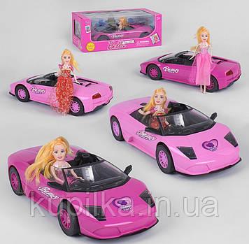Игрушечный розовый инерционный автомобиль-кабриолет в комплекте с куклой 1004 ВВ-1 (2 вида)