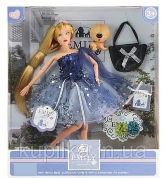 Кукла Эмили шарнирная, блондинка с длинными волосами в синем блестящем платье, с аксессуарами QJ 089 A