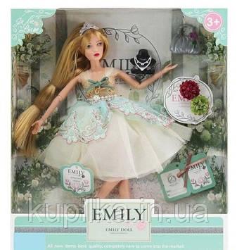 Кукла Emily на шарнирах, блондинка с длинными волосами украшенными диадемой, с аксессуарами QJ 088 A