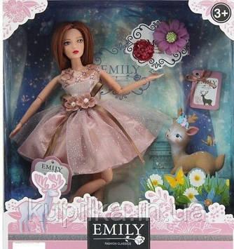 Кукла Emily с длинными волосами в нарядном платье с блестками, шарнирная QJ 087 D с фигуркой олененка