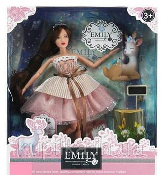 Кукла Emily с шарнирными руками и ногами, длинными волосами, в пудровом платье QJ 087 с питомцем олененком
