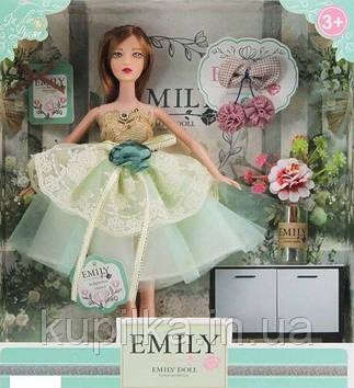 Кукла Emily без шарнирная в пышном платье с бантом, с длинными темными волосами с аксессуарами QJ 088 D