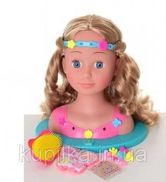 Игрушка кукла-голова для создания причесок со световым эффектом и аксессуарами YL 888 В-1 (высота 25 см)