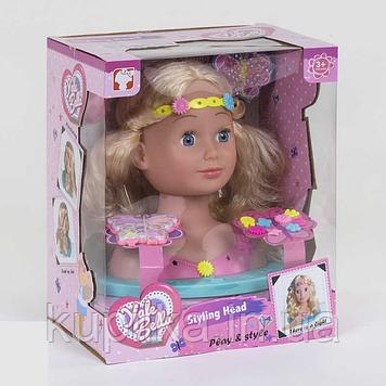 Кукла манекен для создания причесок YL 888 A-1, в комплекте щетка, стразы, тени, украшения (высота 25 см)