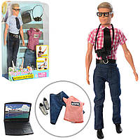 Кукла Defa 8385 Кевин с фотоаппаратом, ноутбуком и сменным костюмом, высота 29 см (2 вида)