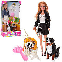 Кукла DEFA 8428-BF модница с питомцем собакой которая издает звуки и аксессуарами, (2 вида) (высота 29 см)