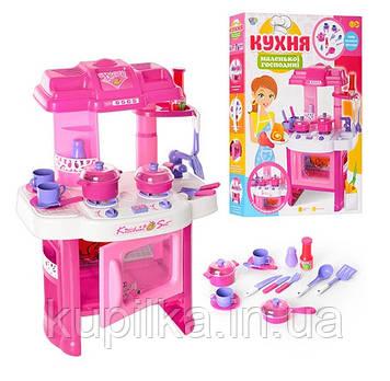 Детская игрушечная кухня со световыми и звуковыми эффектами с посудкой и продуктами 008-26, розовая