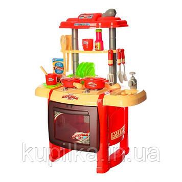 Детская игровая кухня WD-R15 с льющейся водой, посудой, продуктами, плитой, свет, звук Красная