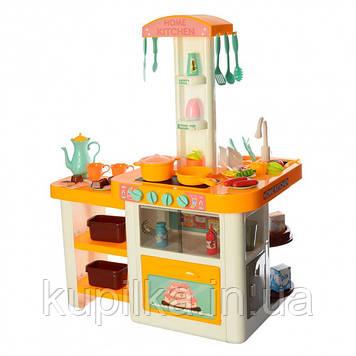 Детская большая кухня с водой 889-63 желтая, 55 предметов, высота 75 см